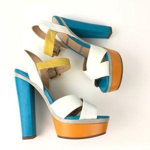 ELLE Multi-Color Block Heels Strap Ankle Platform